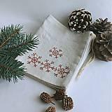 Úžitkový textil - Vianočné vrecúško - snehové vločky - 12553413_