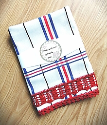 Úžitkový textil - Károvaná utierka s háčkovanou krajkou - 12554837_