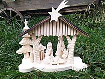 Dekorácie - Betlehem drevený vyrezávaný - 12556247_