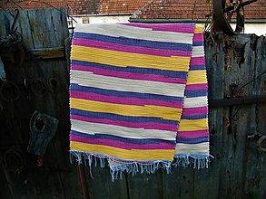 Úžitkový textil - Tkaný koberec oranžovo-žlto-ružovo-fialový - 12555841_