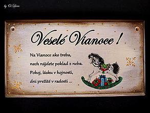 Tabuľky - Vianočná tabuľka - Vintage koník - 12561468_