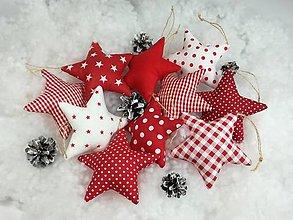 Dekorácie - Vianočné hviezdy,červeno biele - 12560641_