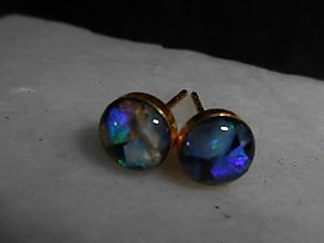 Náušnice - mini opals in gold-opál-zlato-napich.n. - 12563727_