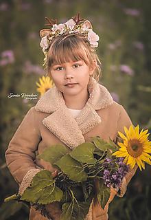 Ozdoby do vlasov - Vianočná kvetinová čelenka sobík ružová - 12563841_