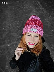 Čiapky - 2v1 - mini tunel nebo hučka žíhaná pink/červená - 12560208_
