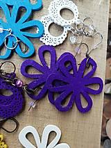 Náušnice - Náušničky kvietky fialové trblietavé - 12560407_