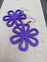 Náušnice - Náušničky kvietky fialové trblietavé - 12560414_