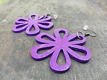 Náušnice - Náušničky kvietky fialové trblietavé - 12560418_