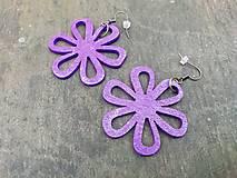 Náušnice - Náušničky kvietky fialové trblietavé - 12560420_