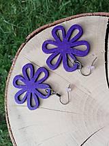 Náušnice - Náušničky kvietky fialové trblietavé - 12560422_