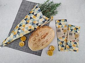 Úžitkový textil - Obrúsok s včelím voskom - trojuholník žltošedý - 12559235_