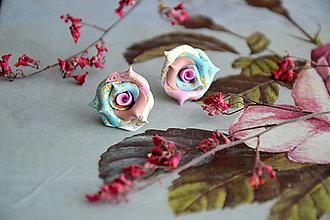 Náušnice - Ružičky, náušnice, fimo - 12559450_