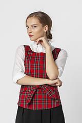 Iné oblečenie - Červená károvaná vesta MILA - 12564094_