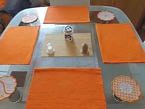Úžitkový textil - Vyšívané podšálky (Oranžová) - 12562239_