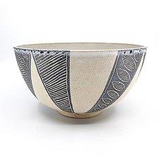 Nádoby - Misa bielo-šedá dekorovaná - 12562807_