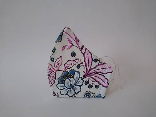 Dizajnové ľanové rúško kvety ružové
