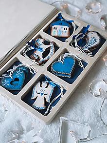 Dekorácie - Drevené vianočné ozdoby - Retro kolekcia modrá - 12567740_