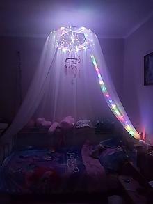 Úžitkový textil - Baldachýn s lapačom snov a led svetlami - 12568050_
