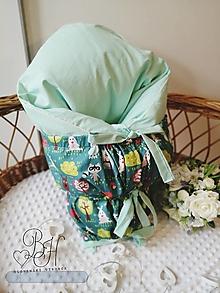 Textil - Paperová zavinovačka mentolova so zvieratkami - 12564784_