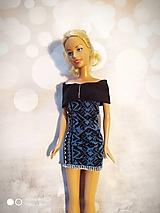 Hračky - Malé modré šaty s čiernym lemom - 12566990_