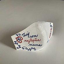 """Rúška - Maľované SMOTANOVOBIELE ľanové rúško (3-vrstvové) (s folk vzormi a nápisom """"Som vraj najlepšia mama"""") - 12566629_"""