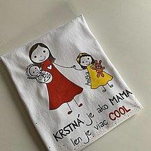 Oblečenie - Originálne maľované tričko s 3 postavičkami (KRTSTNÁ + dievčatko + bábätko) - 12566809_