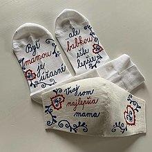 """Rúška - Sada maľovaných ponožiek a rúška s folk vzormi a nápisom """"Som vraj najlepšia mama"""" - 12566897_"""
