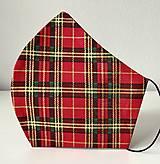 Rúška - Dizajnové rúško vianočné káro (Tvarované rúško UNI) - 12564814_