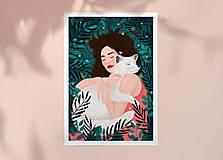 Grafika - Polární liška - umělecký tisk - 12575417_