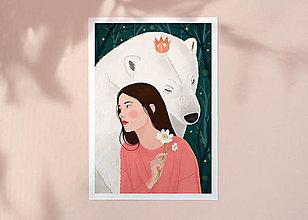 Grafika - Polární medvěd - umělecký tisk, A4 - 12575573_
