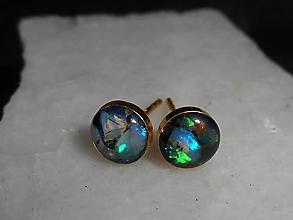 Náušnice - mini opals in gold-opál-zlato-napich.n. II - 12571108_