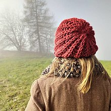 Čiapky - dámska čiapka TERAKOTA z alpaky - 12574388_