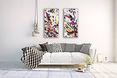 Obrazy - Diptych abstraktné obrazy - 12571553_
