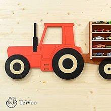 Nábytok - Polička na autíčka - Traktor s vlečkou - 12572553_