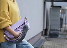 Kabelky - Kožená kabelka s dvoma popruhmi- LILA - 12573557_