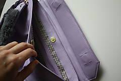 Kabelky - Kožená kabelka s dvoma popruhmi- LILA - 12573562_