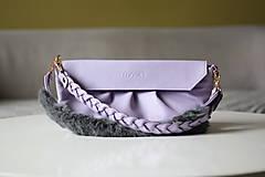 Kabelky - Kožená kabelka s dvoma popruhmi- LILA - 12573565_