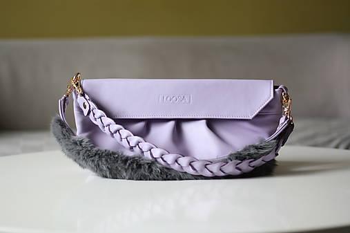 Kožená kabelka s dvoma popruhmi- LILA