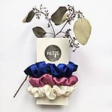 Ozdoby do vlasov - Silky set scrunchies (Blue & Pink & White) - 12573361_
