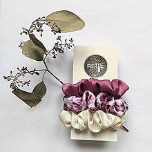 Ozdoby do vlasov - Silky set scrunchies (Pink Panther White) - 12573359_