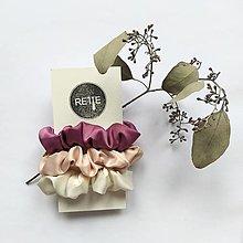 Ozdoby do vlasov - Silky set scrunchies (Pink & White) - 12573362_