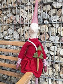 Hračky - škriatkuľa v červenom svetríku a červenej sukničke - 12574842_