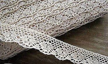 Galantéria - Čipka zo 100% bavlny, 2cm x 18,3 m-béžová - 12572979_