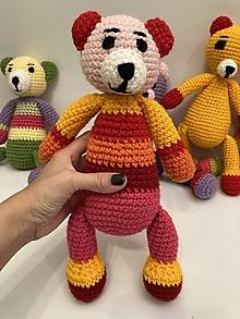 Hračky -  AKCIA !!! Maco/macko/Medveď/ (sv. ružova hlava/červené uši/výška 31 cm) - 12572962_