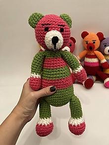Hračky -  AKCIA !!! Maco/macko/Medveď/ (ružová hlava/zelené uši/výška cca 31 cm) - 12573048_