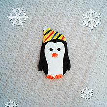 Magnetky - Magnetka tučniak v čiapke 4 (pestré pásiky) - 12573883_