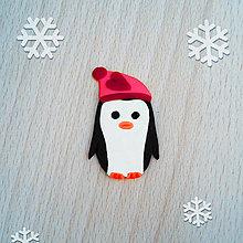 Magnetky - Magnetka tučniak v čiapke 5 (srdiečko) - 12573884_