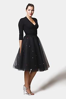 Sukne - Tylová sukňa čierna s vyšívanými bodkami - 12580424_