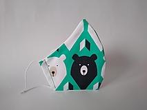 Rúška - Dizajnové rúško medveď zelené tvarované dvojvrstvové (Dámske) - 12581211_