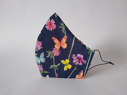 Dizajnové rúško motýle tmavomodré tvarované dvojvrstvové